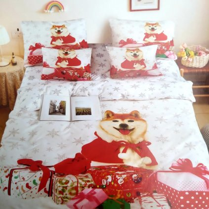 bavlnene obliecky CHRISTMAS DOG 02 3 dielna sada 140x200cm