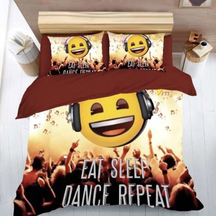 bavlnene obliecky PARTY SMILE 3 dielna sada 140x200cm