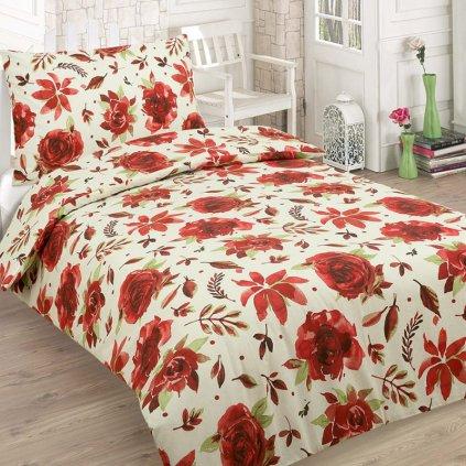 francuzske obliecky RED ROSE 5 dielna sada 200x220cm