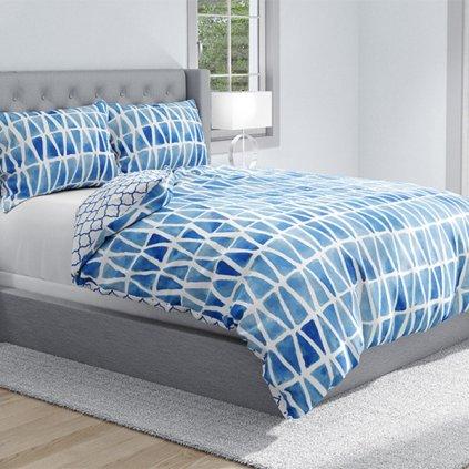 bavlnene obliecky na zips DELUXE BLUE CARMEN 140x200cm
