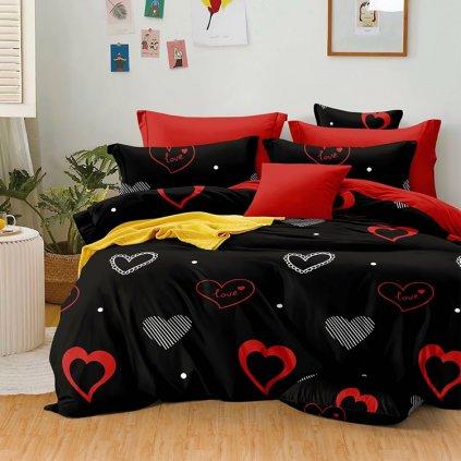 bavlnene obliecky LOVED BLACK RED 140x200cm
