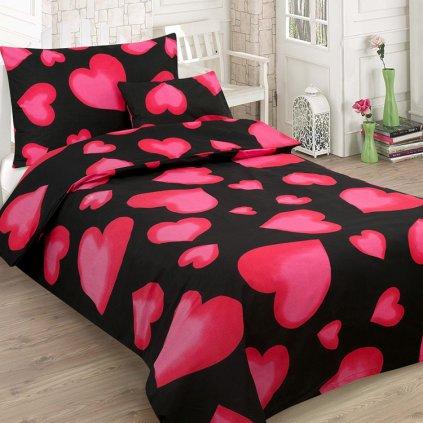 bavlnene obliecky HEARTS ON BLACK dvoj dielne 140x200cm
