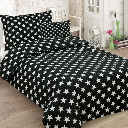 bavlnene obliecky BLACK STAR 7 dielna sada 140x200cm