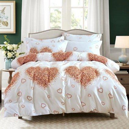 postelne obliecky TIMEA WHITE LOVE 3 dielna sada 140x200cm