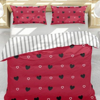 bavlnene obliecky JANE LOVE RED 3 dielna sada 140x200cm