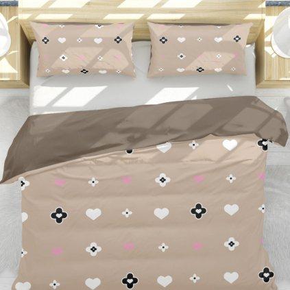bavlnene obliecky JANE LOVE BROWN 3 dielna sada 140x200cm