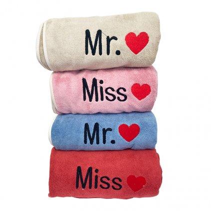 osuska mikroplys Mr Mrs Color MIX 4 kusy 70x140cm