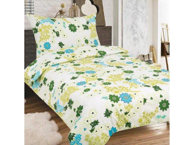 Obliečky PAULINA zelená Zips Bavlna 70x90 140x200 cm