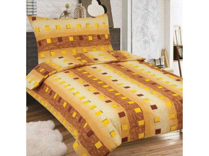 Obliečky NELIA Predĺžené hnedé Bavlna  70x90 140x220 cm