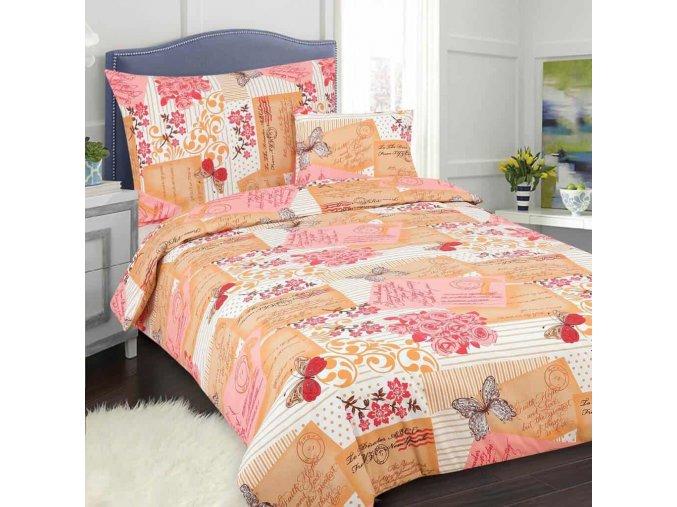 Obliečky Postcard oranžová ružová bavlna 7set