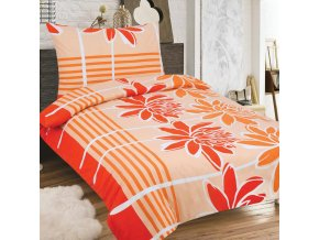 Obliečky PALOMA oranžová Zips Bavlna 70x90 140x200 cm