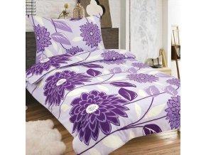 Obliečky RENATA fialová Zips Bavlna 70x90 140x200 cm