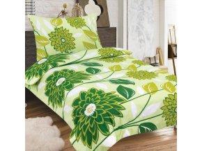 Obliečky RENATA zelená Zips Bavlna 70x90 140x200 cm