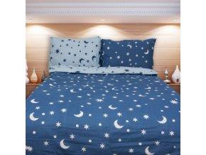 Obliečky MESIAC modrá Bavlna 70x90 140x200 cm