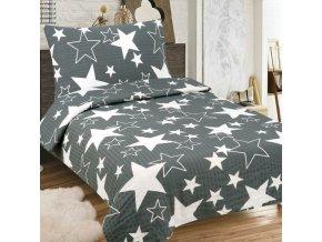 hviezdy siva 140x200cm krepove obliecky 3set 1476