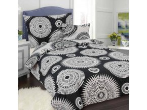 Obliečky MANDALA Čierna Bavlna 70x90 140x200 cm
