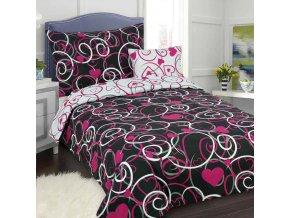 Obliečky ORNAMENT SRDCE Ružová čierna Bavlna 70x90 140x200 cm