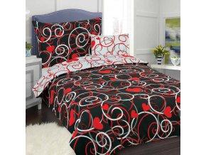 Obliečky ORNAMENT SRDCE Červená čierna Bavlna 70x90 140x200 cm