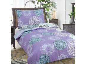 Obliečky MANDALA Fialová Bavlna 70x90 140x200 cm