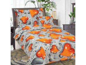 Obliečky SRDCE Oranžová Bavlna 70x90 140x200 cm
