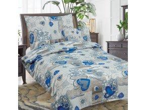 Obliečky VESELÉ VIANOCE  modrá  Ti Amo Bavlna 70x90 140x200 cm