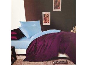 Obliečky Bavlnené LUNA tmavá fialová a svetlo modrá