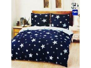 francuzske obliecky 200x2202x70x90 modre hvezdy