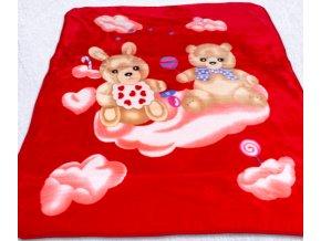 deka detska medvedik a zajko 110x140cm cervena 520x520