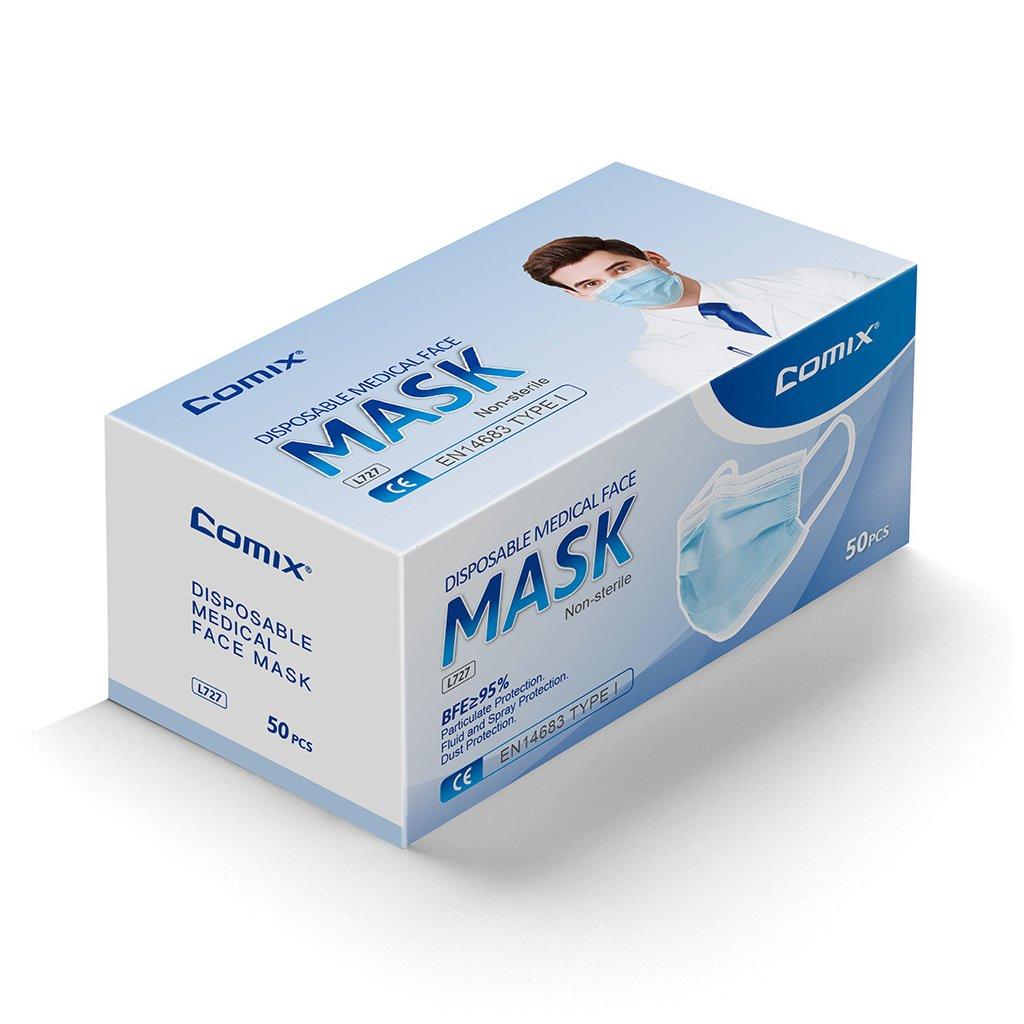 hygienicka zdravotni rouska 3 vrstva comix 50 ks l727 l