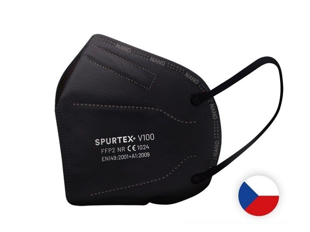 Český nano respirátor Spurtex - černý, L