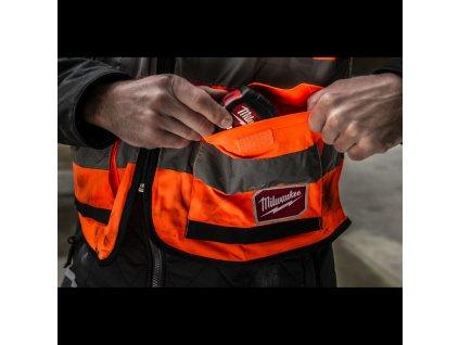Milwaukee vesta s vysokou viditelností Premium High-Visibility Vest, oranžová, vel. L/XL