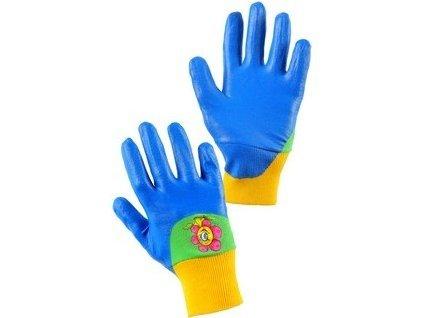 Rukavice DRAGO, dětské, máčené v nitrilu, modré, vel.7