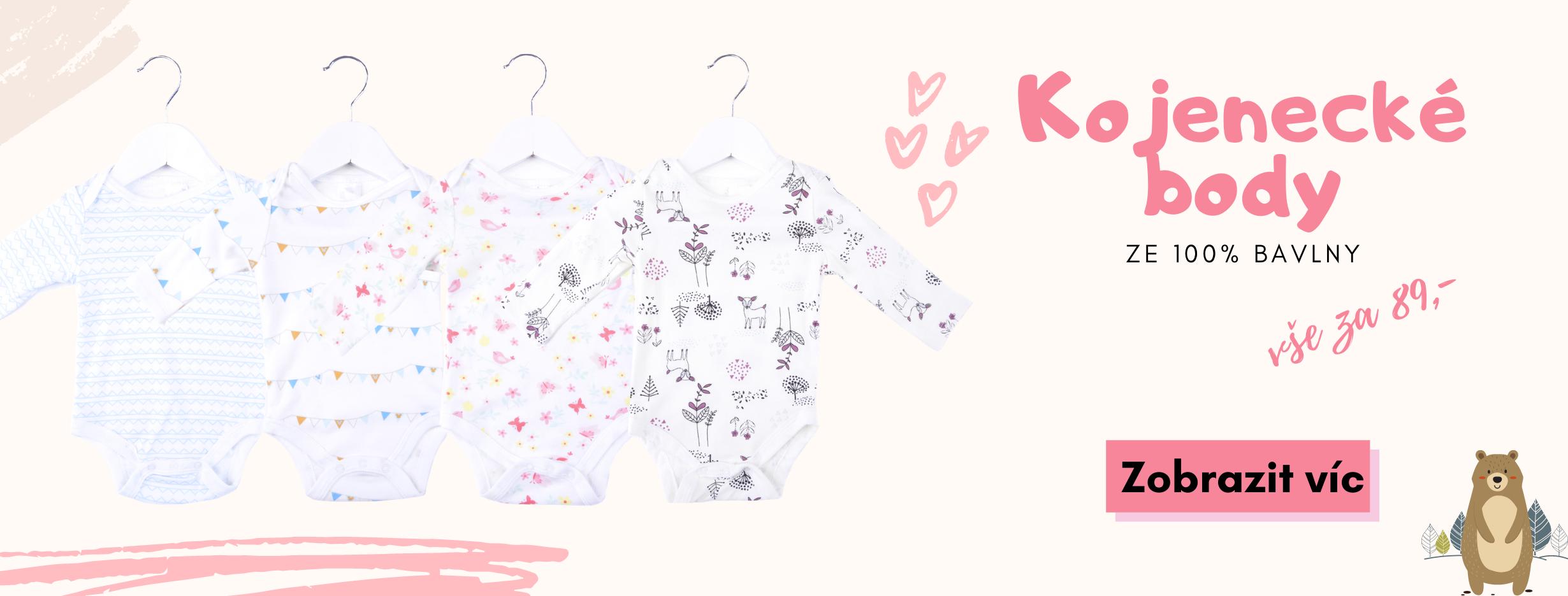 Bavlněné kojenecké body, vše za 89 kč, ze 100% bavlny
