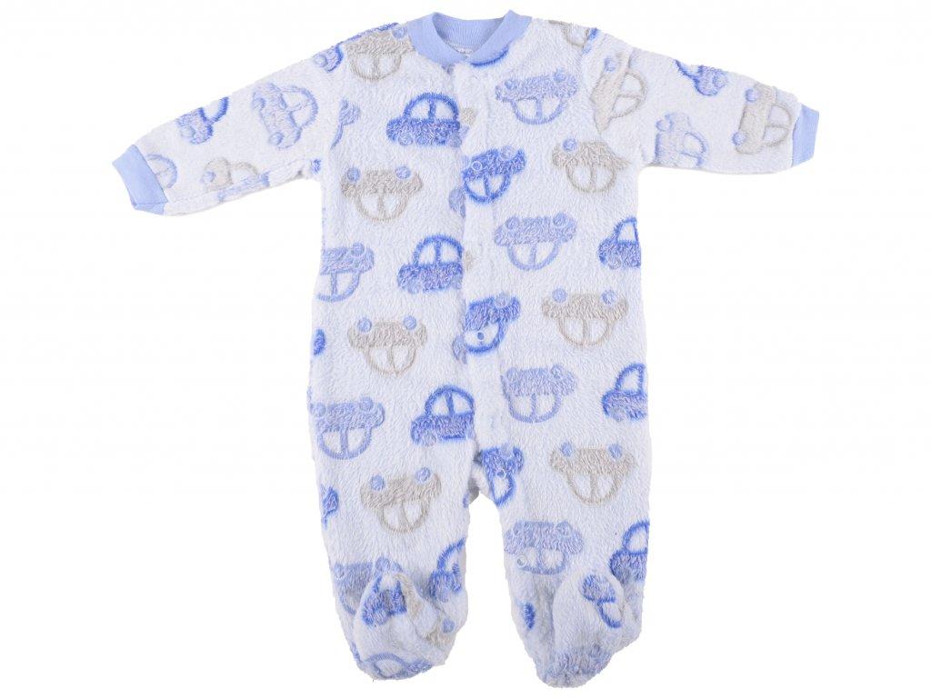 Fleecový overal, kojenecký, autíčka, modrá