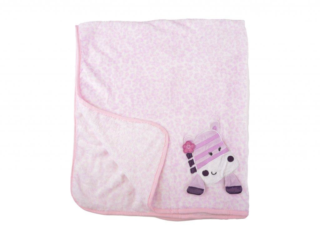 plyšová deka, růžová, zebra
