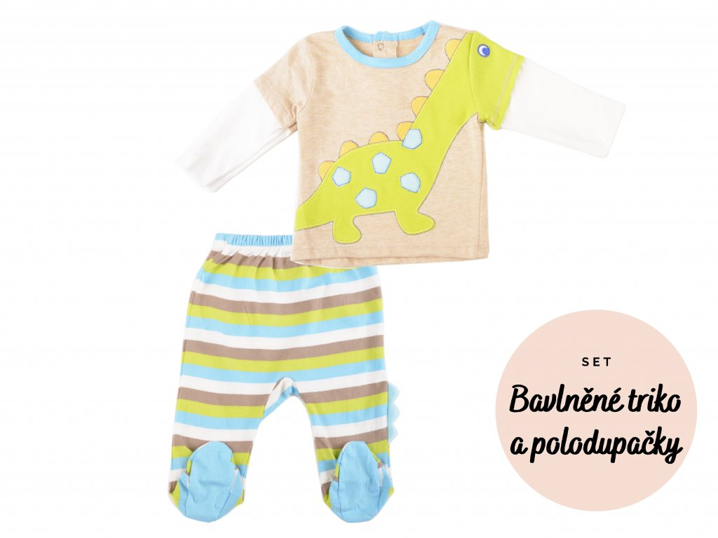 Bavlněná kojenecká souprava, polodupačky a triko, set - 2ks, dinosauřík