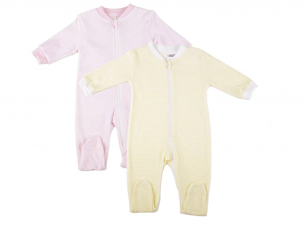 Bavlněné kojenecké body, na zip, proužkovaná, celek