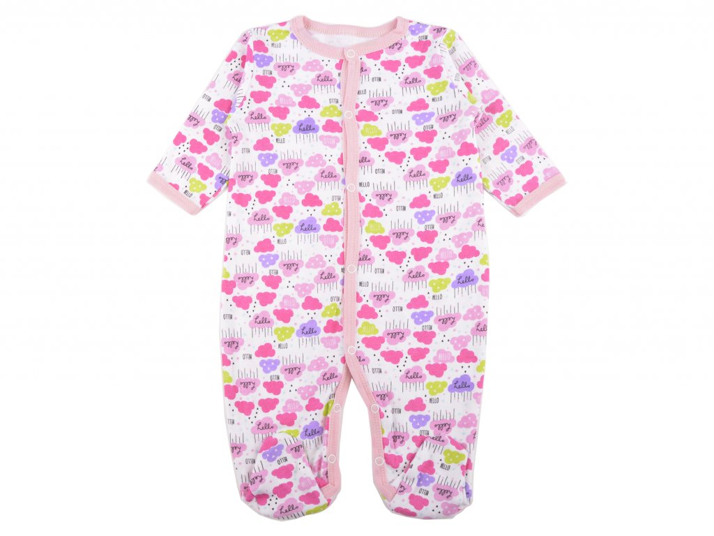 Bavlněný kojenecký overal, růžovýpng