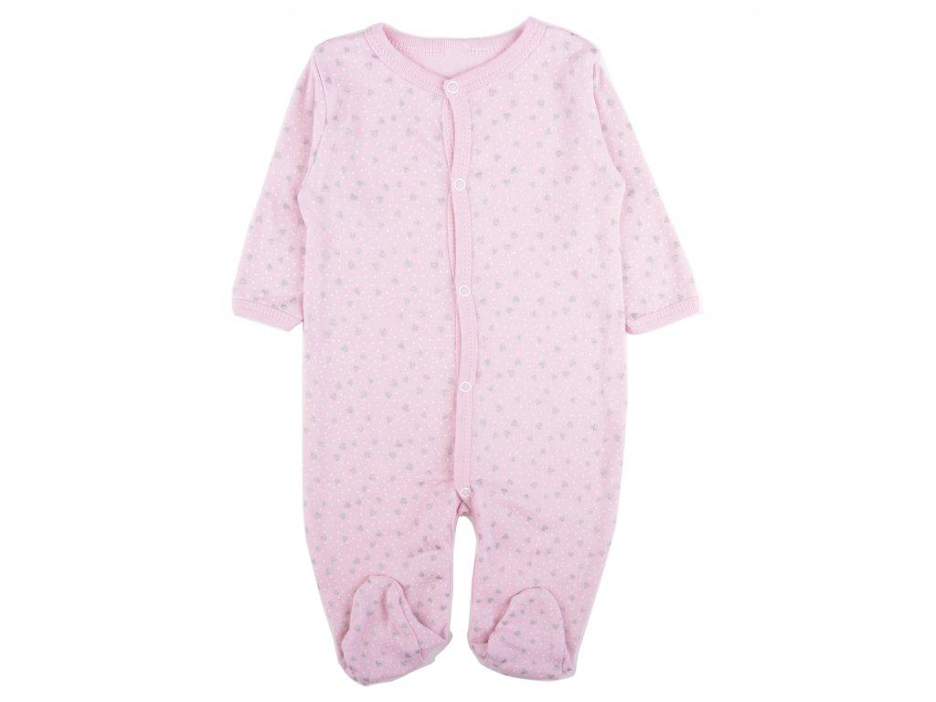 Bavlněný kojenecký overal, růžový, jewell