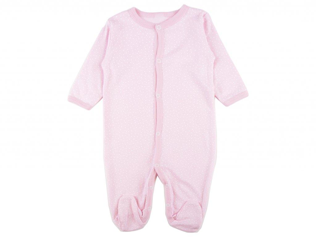 Bavlněný kojenecký overal,růžový, puntíky