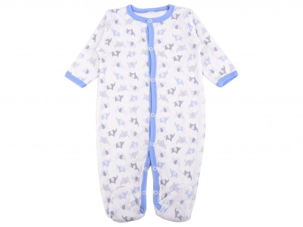 Bavlněný kojenecký overal, modré sloníky