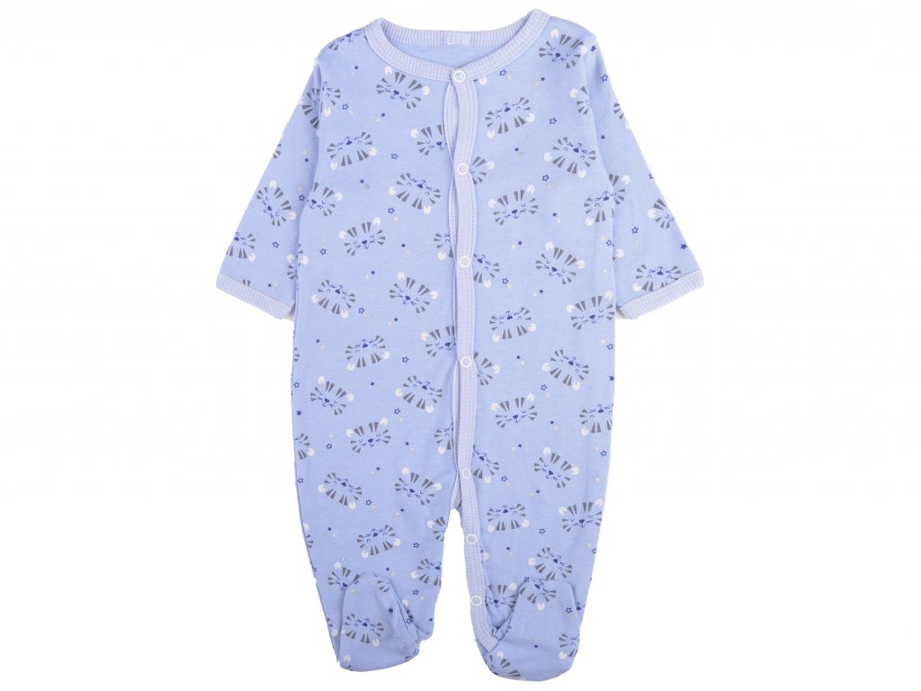 Bavlněný kojenecký overal, modrá, tygřík