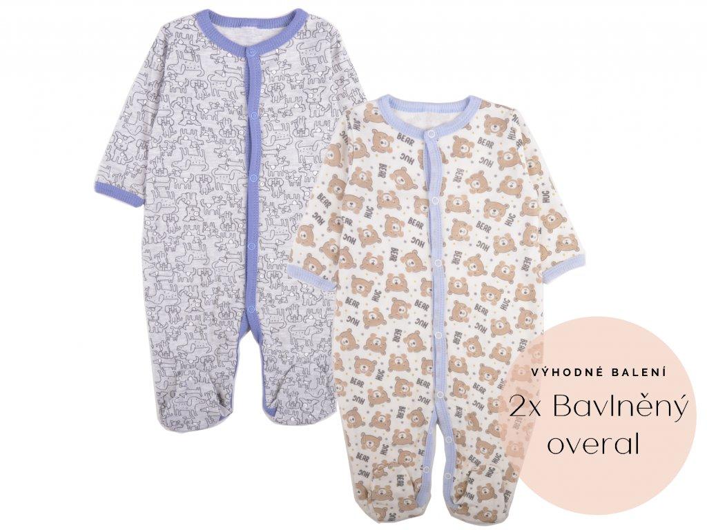 Výhodné balení: 2x bavlněný kojenecký overal, medvídek a pejsek