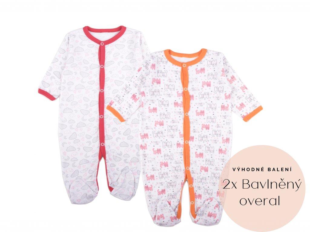 Výhodné balení: 2x bavlněný kojenecký overal