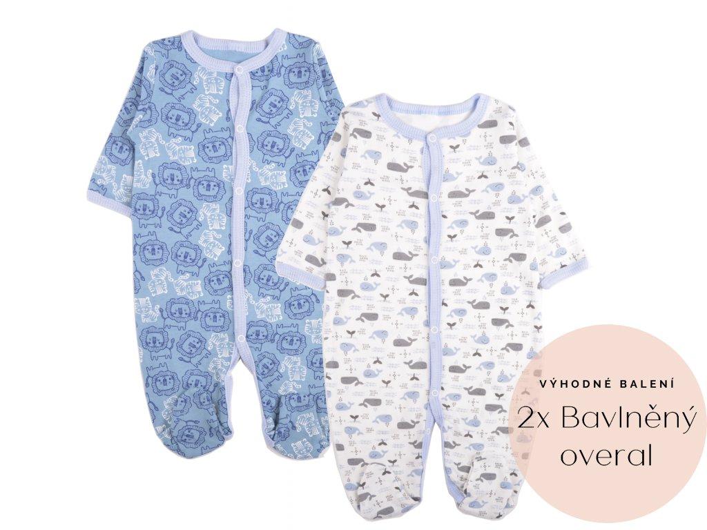 Výhodné balení: 2x bavlněný kojenecký overal, velrybka