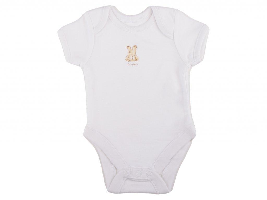 Bílé kojenecké body, bavlněné, funny