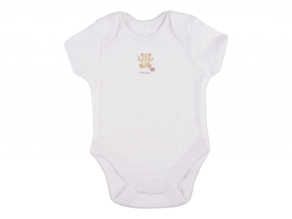 Bílé kojenecké body, bavlněné, happybear