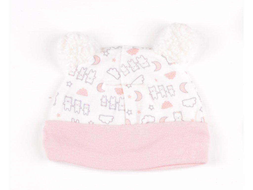 Bavlněné kojenecké čepičky, medvídci, růžový lem, s bambulkou2