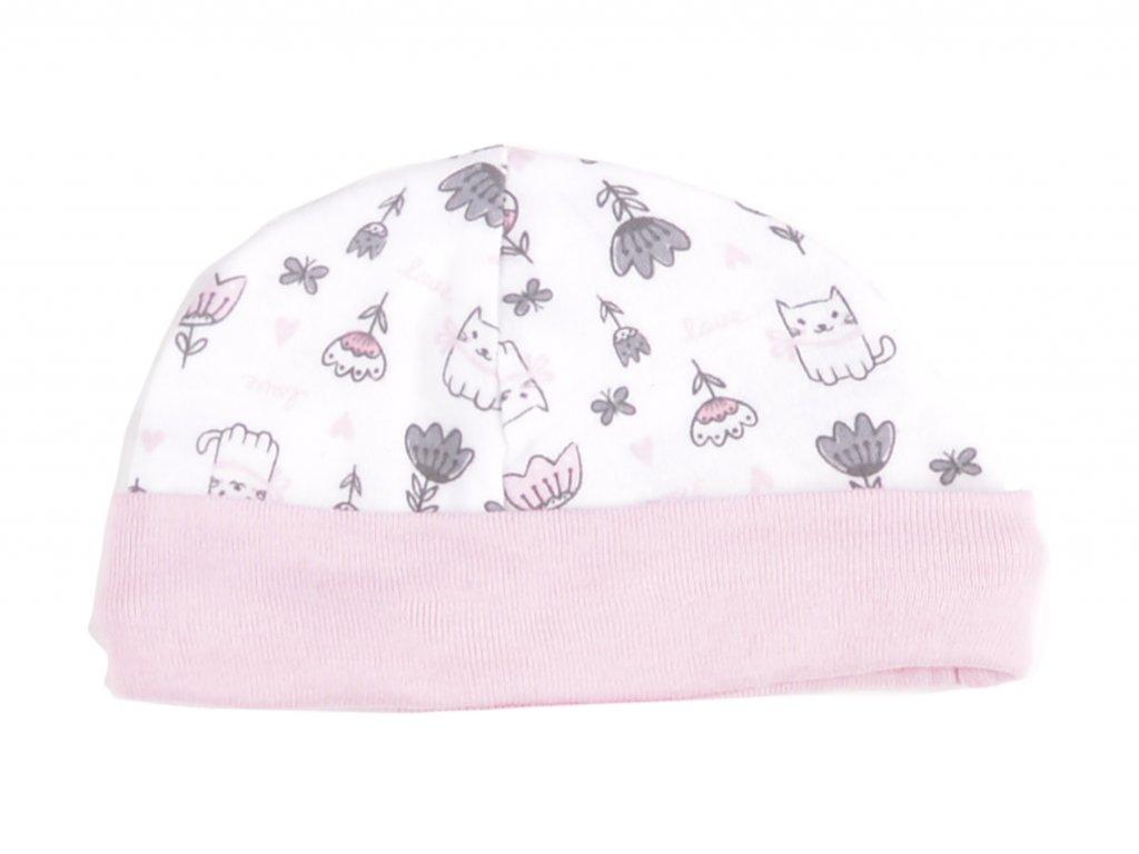 Bavlněné kojenecké čepičky, bílá, růžový lem