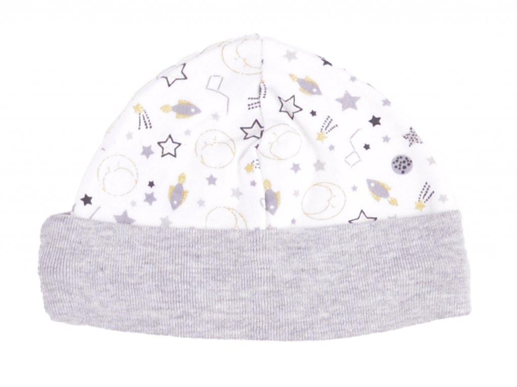Bavlněné kojenecké čepičky, šedý lem, bílá
